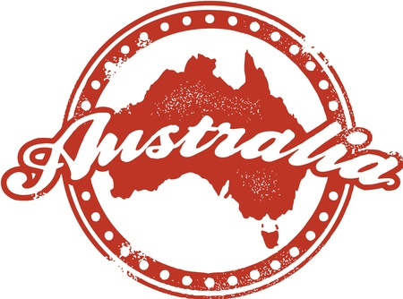 Vintage Australia Tourism Stamp Stock Vector - 14651214