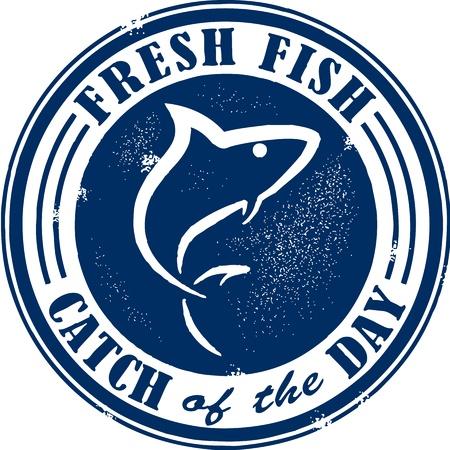 pez espada: Estilo vintage pescado fresco Sello Mariscos Vectores