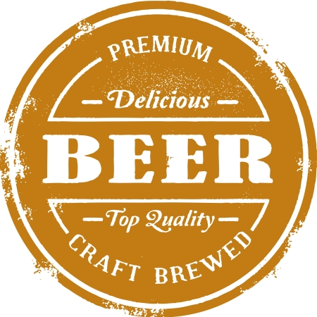 brewery: Vintage Premium Beer Stamp Illustration