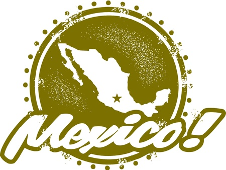 mexico map: Vintage Mexico Stamp