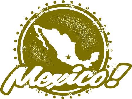 timbre voyage: Vintage Mexique Stamp Illustration