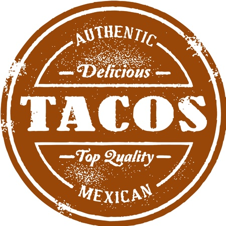 Vintage Mexican Taco Stamp Vector