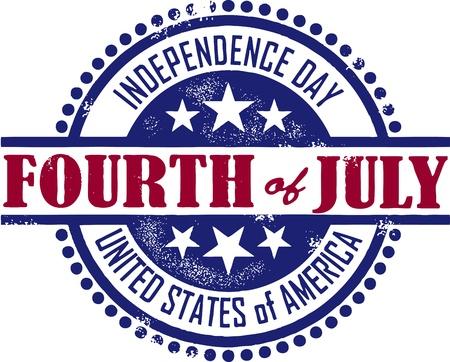 Quatrième Vintage Style du timbre Juillet Jour de l'Indépendance