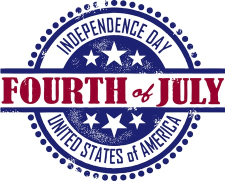 Vintage Style Fourth of July Independence Day Stamp Vector