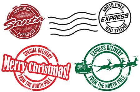 산타 클로스: 산타 클로스 크리스마스 배달 우표 일러스트