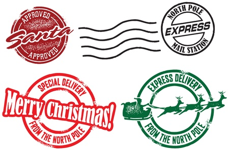 Santa Claus Christmas Delivery Stamps Vector
