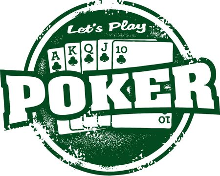 Let s Play Poker Tournament Stamp Vector
