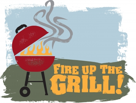 grill: Backyard BBQ Grill Party Illustration