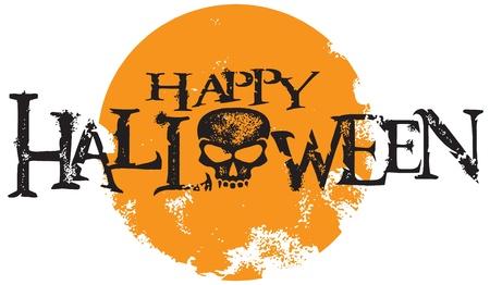 spooky skull: Happy Halloween Skull Text