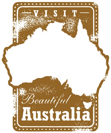 Vintage Australia Tourism Travel Stamp Stock Vector - 17360167