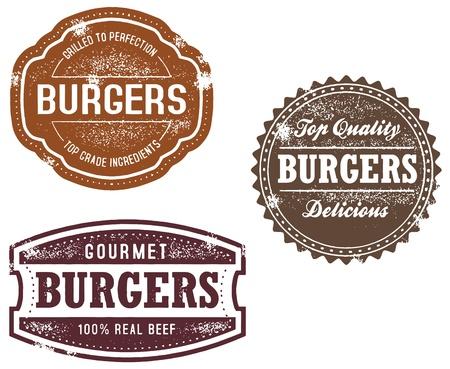 ヴィンテージ様式のハンバーガーの印とスタンプ