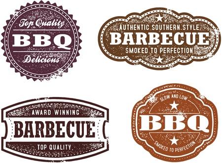 Vintage Style BBQ Briefmarken Standard-Bild - 17360195