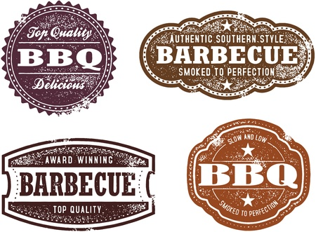 Vintage Style BBQ Stamps Stock Vector - 17360195