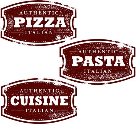 イタリアン レストラン ピザ ビンテージ スタンプ  イラスト・ベクター素材