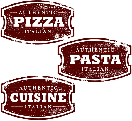 Vintage Italian Restaurant Pizza Stamp Vector