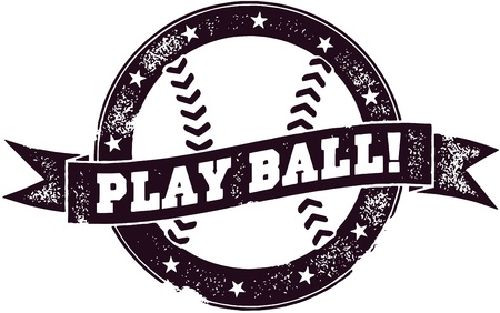 baseball ball: Play Ball, Baseball or Softball Stamp Illustration