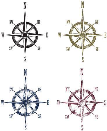 Vintage Compass Rose Kaart Graphics Stock Illustratie