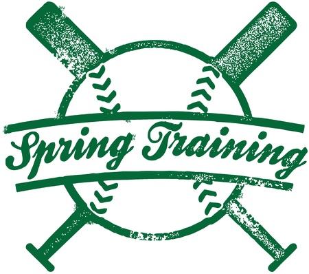 春のトレーニング野球スタンプ