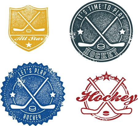 ice hockey puck: Vintage Style Hockey Sport Stamps
