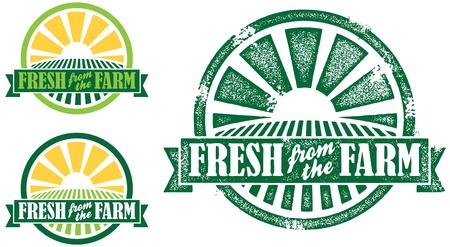 Fresh from the Farm Stamp/Seal Vettoriali