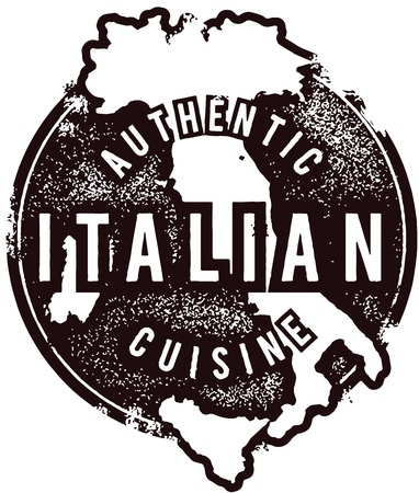 italian cuisine: Authentic Italian Restaurant Menu Stmap Illustration