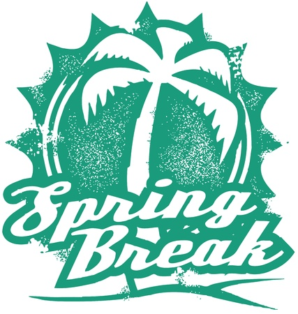 mexico beach: Spring Break Vacation Stamp Illustration
