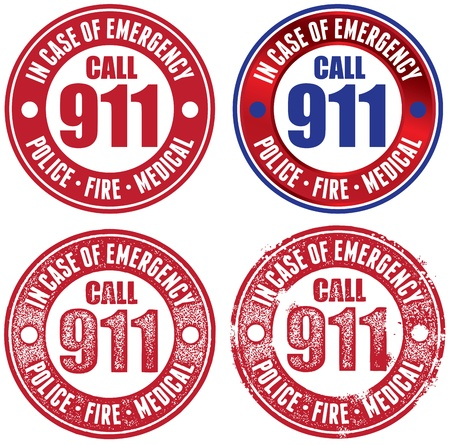 medical emergency service: Call 911 Emergency Vector Stamps