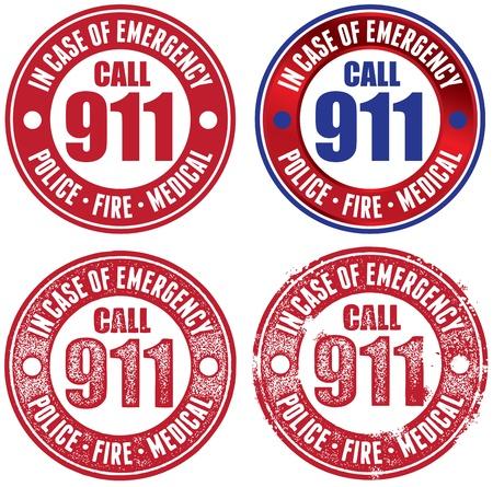 emergencia medica: Llame al 911 Sellos vector de emergencia