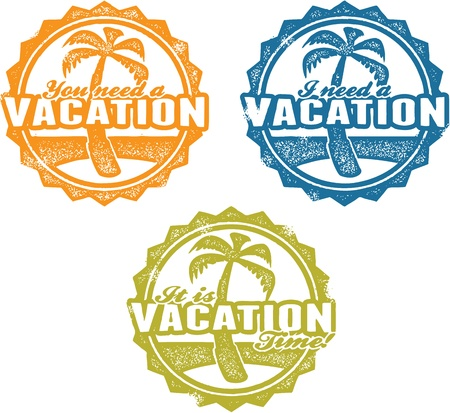 Vacation Time Travel Agent Stamps Vector