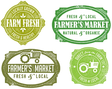 fresh produce: Vintage Style Farmers Market Stamps