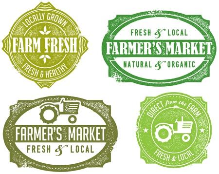 tractores: Vintage Style Sellos Mercado del Agricultor Vectores