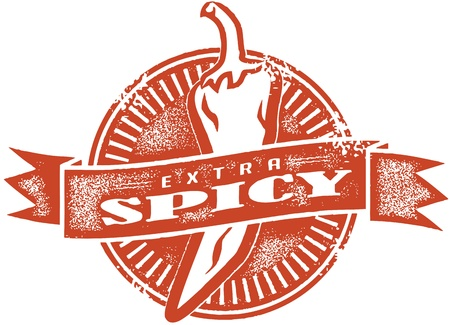 taco: Extra Spicy Vintage Style Stamp Illustration