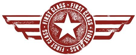 sello postal: Estilo Vintage sello de primera clase Vectores