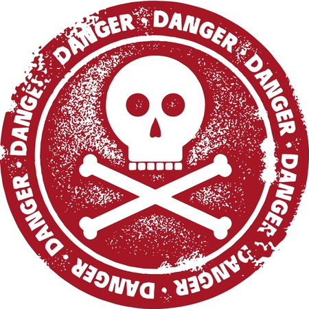 Danger Skull and Bones Warning Sign Иллюстрация