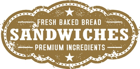 Vintage Deli Sandwich Sign Vector