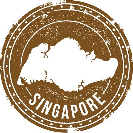 シンガポール国スタンプ  イラスト・ベクター素材