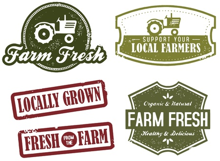 Vintage Farm Fresh Market Stamps Vector