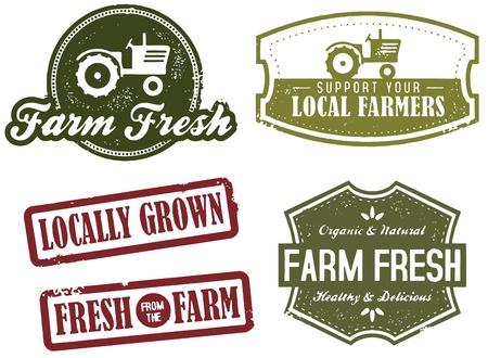 tractor: Vintage Farm Fresh Market Stamps