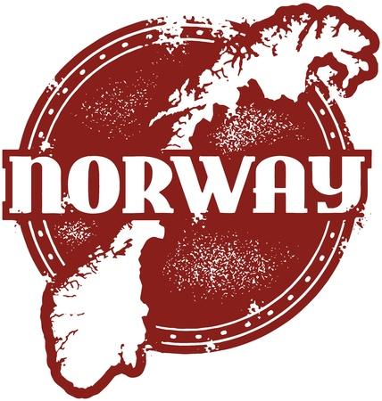 País Noruega Stamp Sello Ilustración de vector