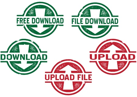 Computer File Download and Upload Stamps Vector