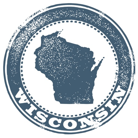 the great lakes: Vintage Wisconsin State StampSeal