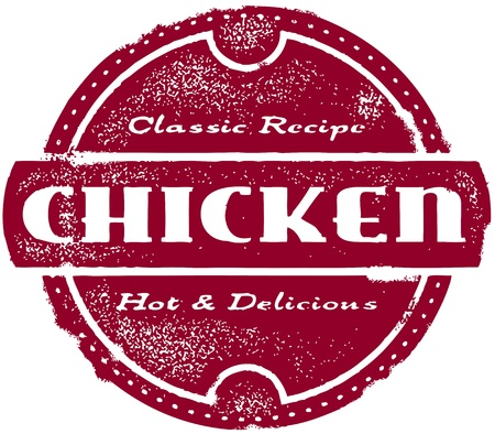 Vintage Chicken Menu Stamp Иллюстрация