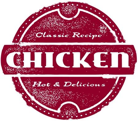 vintage: Vintage Chicken Menu Stamp Illustration
