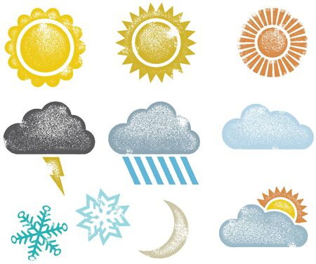 Grunge Distressed Weather Icons Illustration