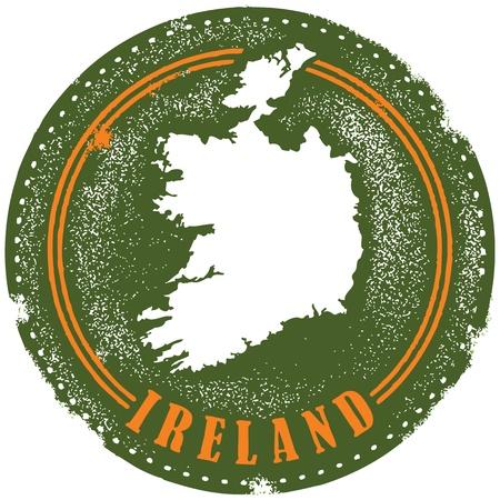 irland: Weinlese Irland Land Stamp Illustration