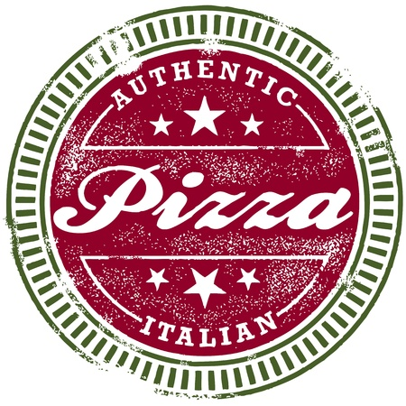 Vinteage Italian Pizza Stamp Çizim