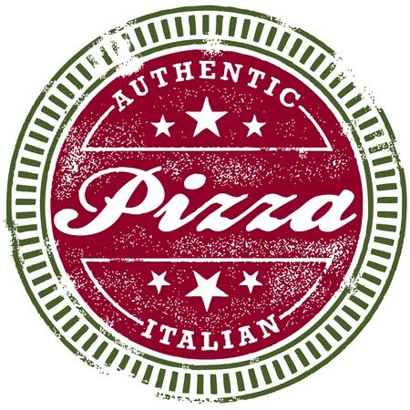 pizzeria: Vinteage Italian Pizza Stamp Illustration