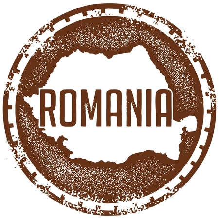 Vintage Romania Country Stamp Vector