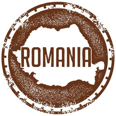 romania: Vintage Romania Country Stamp Illustration