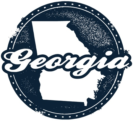 georgia: Vintage Style Georgia USA Stamp Illustration